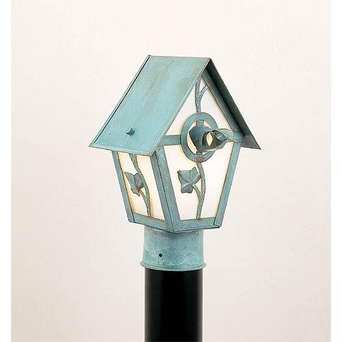 Small Birdhouse Outdoor Post-Mounted Lantern