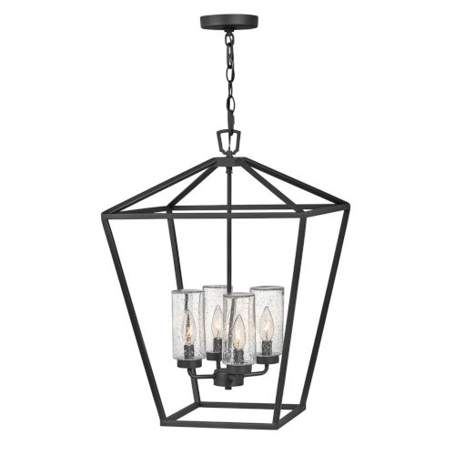 Alford Place Museum Black Four-Light LED Outdoor Chandelier