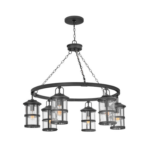 Lakehouse Black Six-Light Outdoor Chandelier