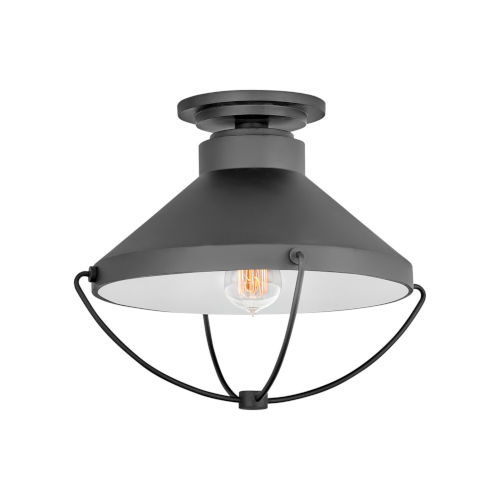 Crew Black One-Light Outdoor Semi-Flush Mount