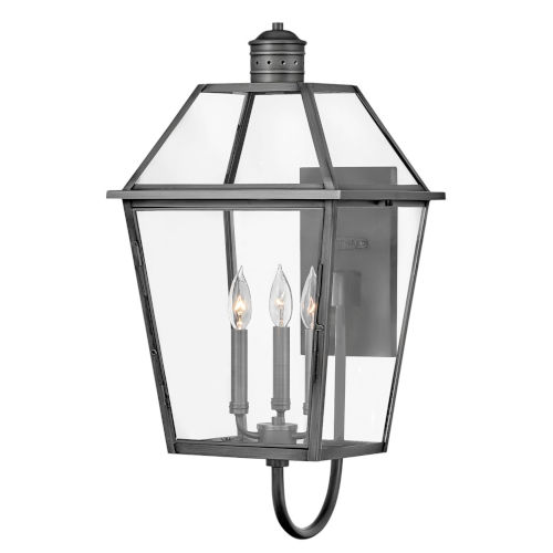 Nouvelle Blackened Brass 27-Inch Three-Light Outdoor Wall Mount