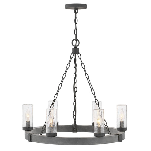 Sawyer Aged Zinc Six-Light LED Outdoor Pendant