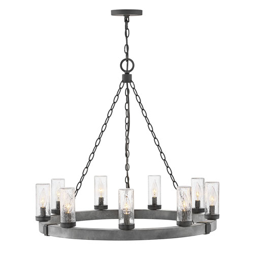 Sawyer Aged Zinc Nine-Light LED Outdoor Pendant