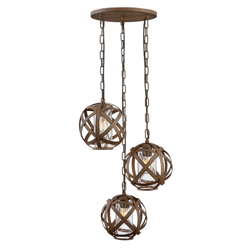 Hinkley Carson Vintage Iron Three-Light Outdoor Pendant
