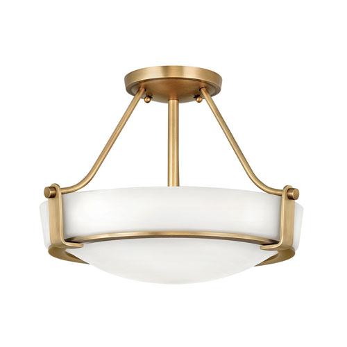 Hathaway Heritage Brass Three-Light Semi-Flush Mount