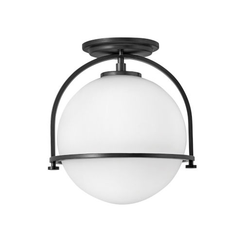 Somerset Black One-Light Semi-Flush Mount
