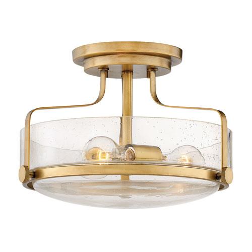 Harper Heritage Brass 15-Inch Three-Light Semi Flush Mount
