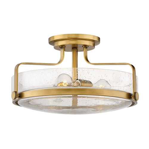 Harper Heritage Brass 18-Inch Three-Light Semi Flush Mount
