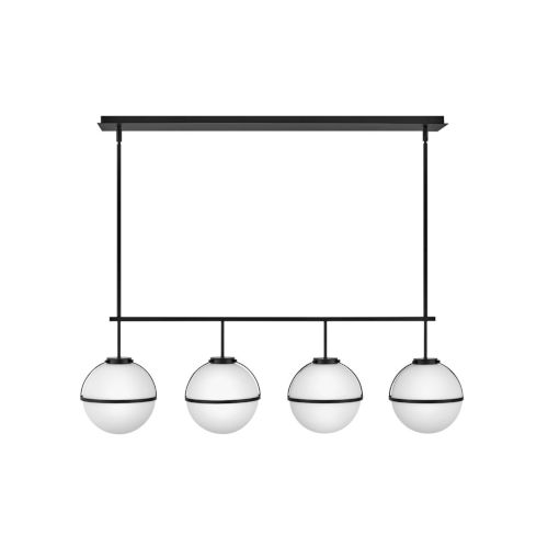 Hollis Black Four-Light Pendant With Etched Opal Glass
