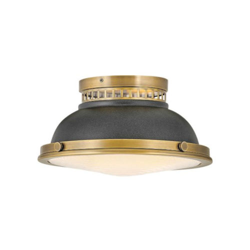 Emery Heritage Brass With Aged Zinc Two-Light Flush Mount