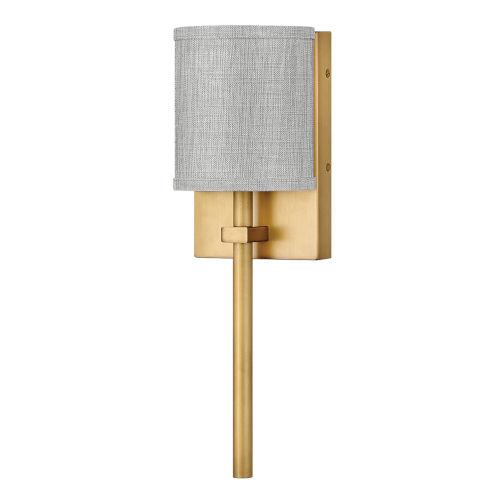 Avenue Heritage Brass One-Light LED Wall Sconce with Heathered Gray Slub Shade
