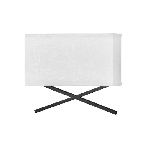 Axis Black Two-Light LED Wall Sconce with Off White Linen Shade