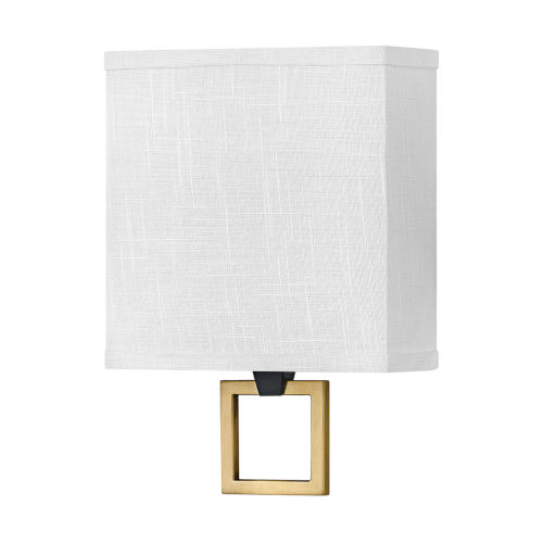 Link Black One-Light LED Wall Sconce with Off White Linen Shade
