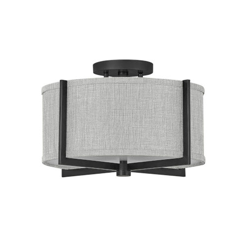 Axis Black Two-Light LED Semi-Flush Mount with Heathered Gray Slub Shade