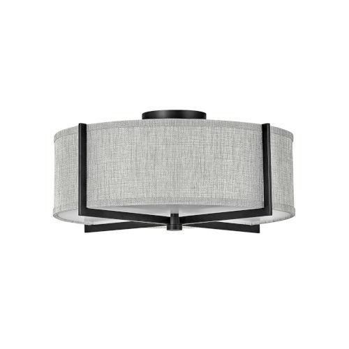 Axis Black Three-Light LED Semi-Flush Mount with Heathered Gray Slub Shade