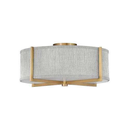 Axis Heritage Brass Three-Light LED Semi-Flush Mount with Heathered Gray Slub Shade