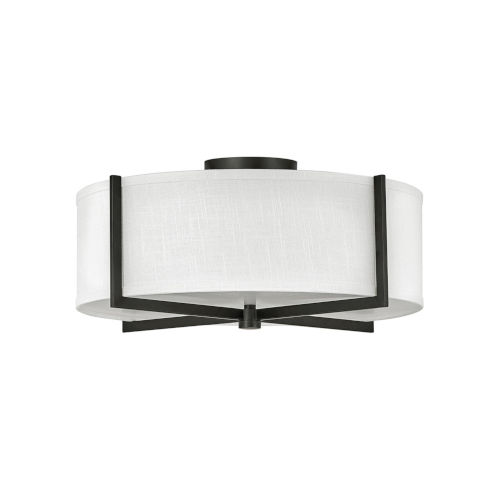 Axis Black Three-Light LED Semi-Flush Mount with Off White Linen Shade