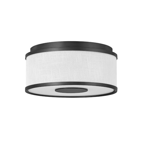 Halo Black Two-Light LED Flush Mount with Off White Linen Shade