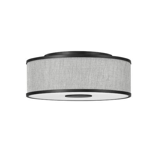 Halo Black Three-Light LED Flush Mount with Heathered Gray Slub Shade
