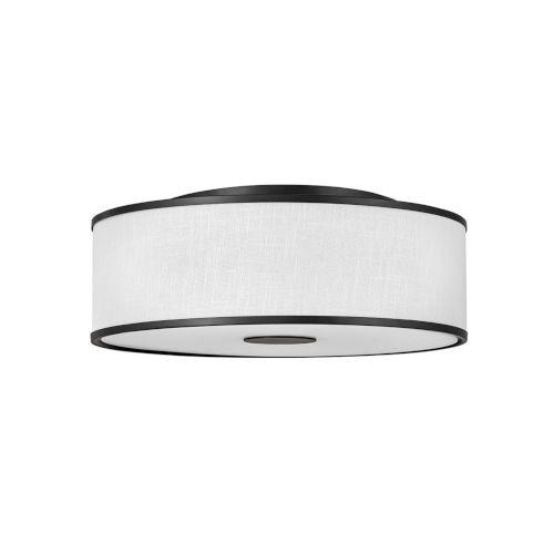 Halo Black Four-Light LED Flush Mount with Off White Linen Shade