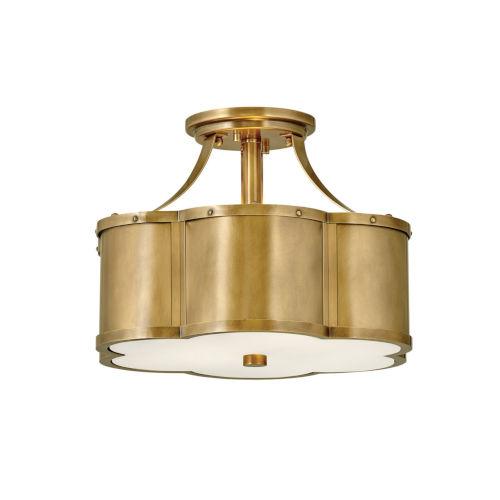 Chance Heritage Brass Two-Light Semi-Flush Mount