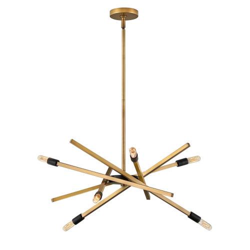 Archer Heritage Brass 26-Inch Six-Light Chandelier