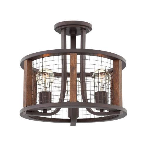 Beckett Iron Rust Three-Light Semi-Flush Mount