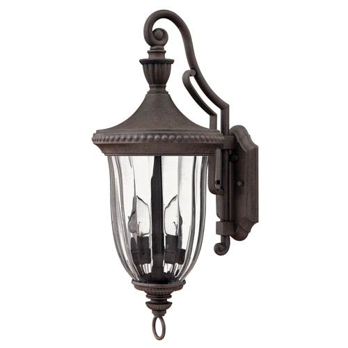 Hinkley Oxford Midnight Bronze 24-Inch Three-Light Outdoor Wall Mount