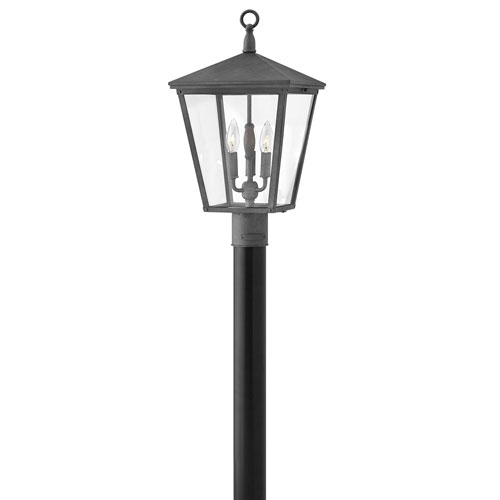 Hinkley Trellis Aged Zinc 11-Inch Three-Light Outdoor Post Top and Pier Mount