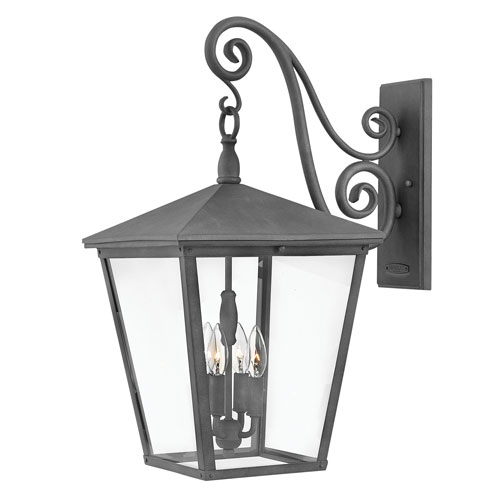 Hinkley Trellis Aged Zinc 13-Inch Four-Light Outdoor Extra Large Wall Mount