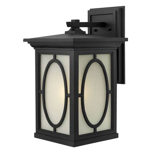 Hinkley Randolph Black 19.5-Inch Bold Oval Pattern One-Light Outdoor Wall Light