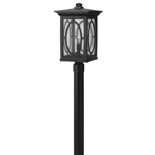 Hinkley Randolph Black 21-Inch Clear Seedy Glass Panel One-Light Outdoor Post Mount