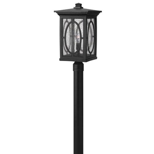 Hinkley Randolph Black 21-Inch LED Etched Seedy Glass Panel One-Light Outdoor Post Mount