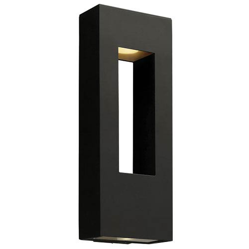 Atlantis Satin Black Large Two-Light LED Outdoor Wall Light