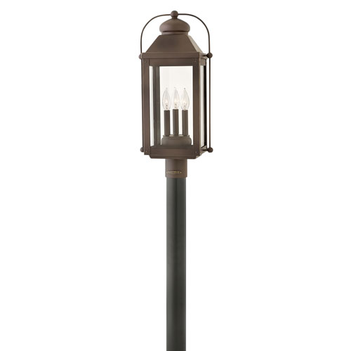 Hinkley Anchorage Light Oiled Bronze 11-Inch Three-Light Outdoor Post Top and Pier Mount