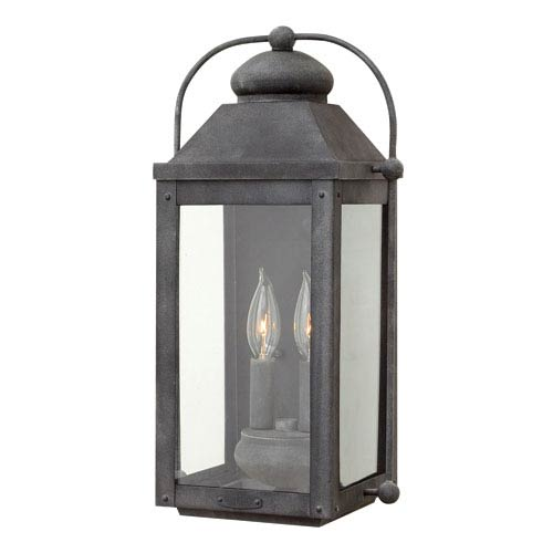 Hinkley Anchorage Aged Zinc Two-Light Outdoor Wall Sconce