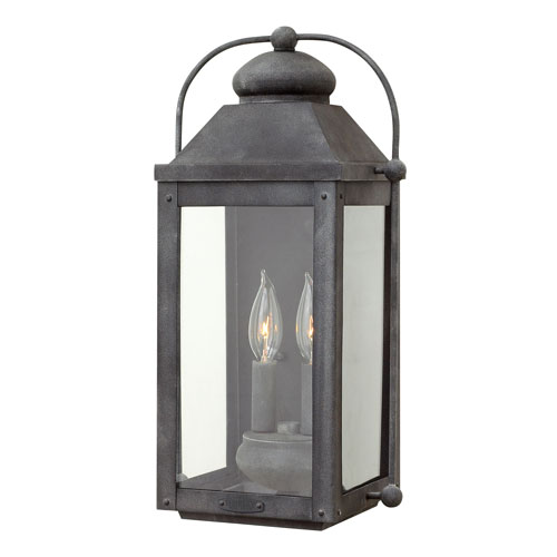 Hinkley Anchorage Aged Zinc 9-Inch Two-Light Outdoor Medium Wall Mount
