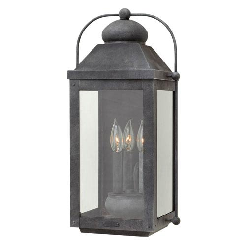 Anchorage Aged Zinc Three-Light Outdoor Wall Sconce