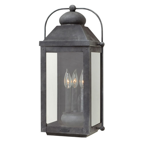 Hinkley Anchorage Aged Zinc 11-Inch Three-Light Outdoor Large Wall Mount