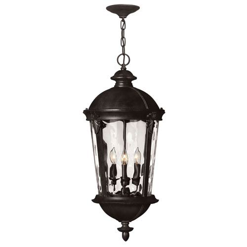 Windsor Black 28.5-Inch Four Light Outdoor Hanging Pendant