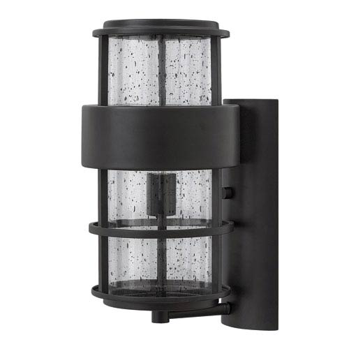 Saturn Satin Black 16-Inch One-Light Outdoor Wall Sconce