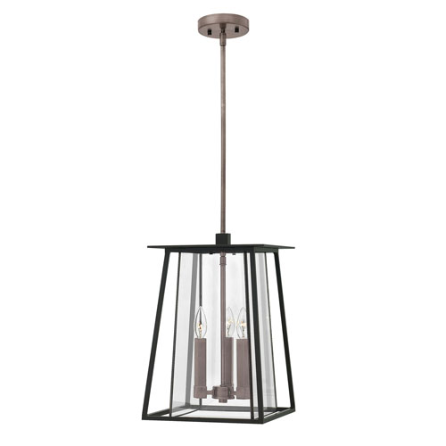Walker Black 12-Inch Three-Light Outdoor Hanging Pendant