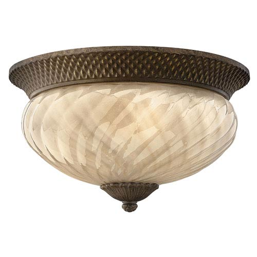 Hinkley Plantation Large Fluorescent Outdoor Flush Ceiling Light with Light Amber Glass