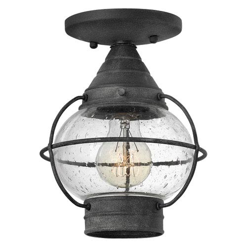 Cape Cod Aged Zinc One-Light Outdoor Semi Flush Mount