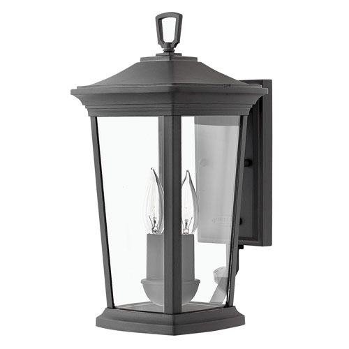 Hinkley Bromley Museum Black 16-Inch Two-Light Outdoor Small Wall Mount