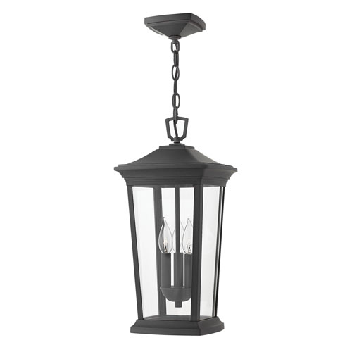 Bromley Museum Black 10-Inch Three-Light Outdoor Hanging Pendant
