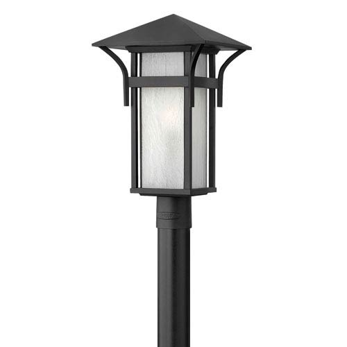 Harbor Satin Black 19.5-Inch LED Seedy Glass One-Light Outdoor Post Mount