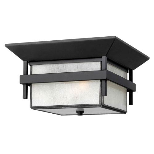 Hinkley Harbor Satin Black Two Light Outdoor Flush Mount