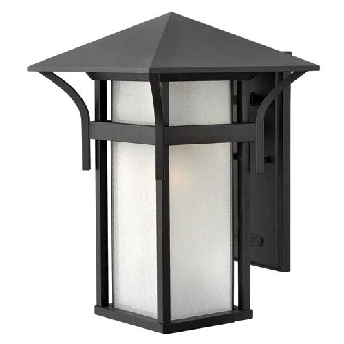 Harbor Satin Black 16-Inch One-Light Large Outdoor Wall Light