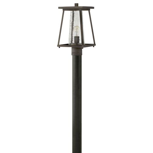 Burke Oil Rubbed Bronze Outdoor Post Mount with Seeded Glass